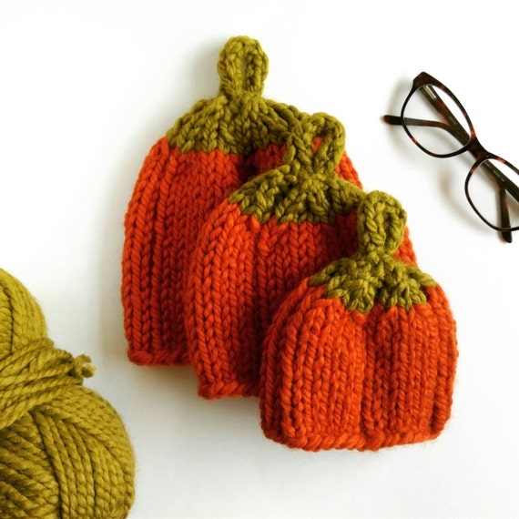 Pumpkin Hat Knitting Pattern // Pumpkin Hat Pattern // Knitting Patterns for ...