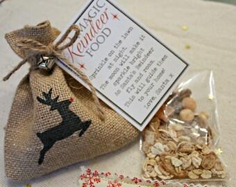 Magic Reindeer Food Santa Christmas Rudolph Wild Animal Safe Jute Sachet