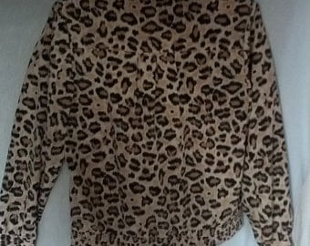 FLASH SALE leopard print shirt blouse polyester Teddi size 12 petite animal print grunge 70s