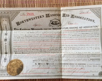 1882 Death Aid Certificate from Masonic Organization, R