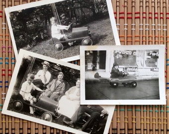 Little Fellow and His Pedal Car:  Trio of Vintage Snapshots