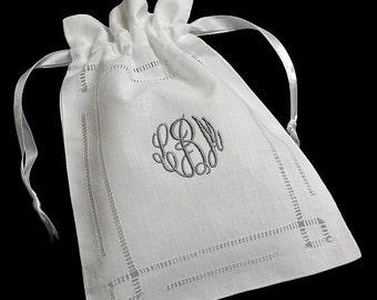 Irish Linen Jewelry Bag, Personalized Gift Bag, Monogrammed Jewelry Pouch, Hemstitched Irish Linen Bag