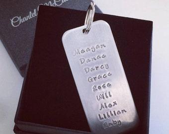 Personalised aluminium big family tag for keyring, customised 25mm wide tag plus ring. Perth, Western Australia