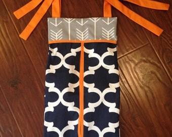 Diaper stacker holder crib grey orange orange navy quatrefoil