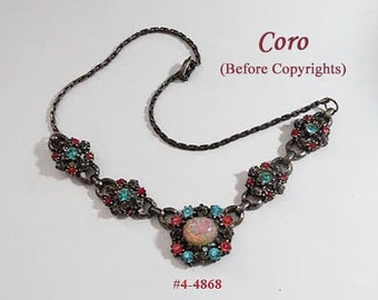 FREE SHIP SALE Coro Necklace With Turquoise and Pink Rhinestones - Pot Metal Setting (4-4868)