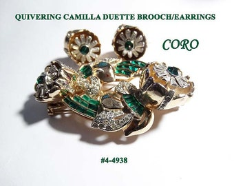 FREE SHIP Price Lowered Quivering Camilla Duette Brooch/Dress Clips/Frame/Earrings (4-4938)