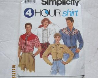 VINTAGE SIMPLICITY WESTERN Shirt pattern xs-med Misses,Mens or Teens
