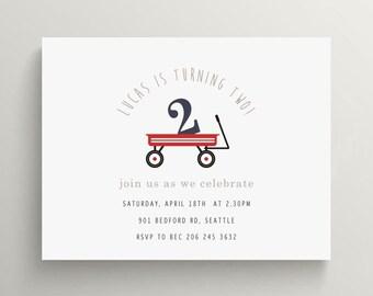 red wagon birthday invitation set  //  kids birthday  //  baby shower invitation  //  modern  //  radio flyer // first birthday