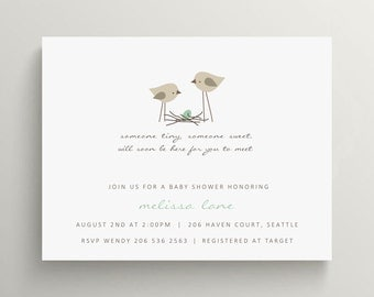 bird nest baby shower invitation set  //  baby announcement  //  egg  //  feather their nest // bird // thank you note // spring