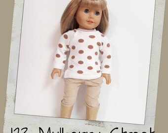 """18"""" Doll Clothes -- Dot sweater and Soft Tan Cords --fits 18"""" dolls like American Girl,"""