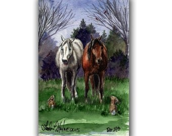 Horses and Bunnies Warm Winter Flurries LLMartin Original Watercolor Painting- Virginia Country