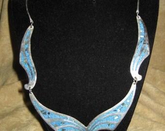 Vintage Alpaca Silver Necklace with Blue Stone Inlay - Mexico