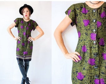 50% OFF SALE... Vintage 80's DAMASK Print Strong Shoulder Flutter Sleeve Dress with Huge Buttons