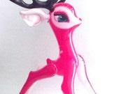 50% OFF Sale VERY RARE Incredibly Sweet  Vintage 1970s Vinyl Inflatable Big Eye Red Nosed Reindeer