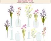 ON SALE Flowers clip art, Botanical clip art,flower in the bottle clip art, flowers in jar, INSTANT Download