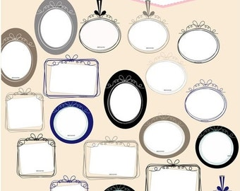 ON SALE Frame clipart.,border ,Curly ribbon frames