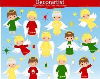 ON SALE christmas Fairy boy clipart, Christmas baby boy angel clipart, Fairies digital clipart, christmas angel clipart, instant downloa