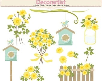 ON SALE Flowers clipart, Botanical clipart, country garden clipart, yellow flowers, bird and birdhouse clipart, INSTANT Download
