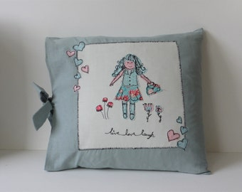 Freehand Embroidery Handmade Live Love Laugh Linen Applique Cushion Cover