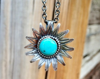 Sterling Silver Turquoise Necklace, Sunflower Necklace, Kingman Turquoise Jewelery, Blue Gemstone, Western Jewelry for women