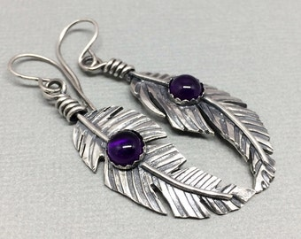 Sterling Silver Feather Dangle Earrings, Amethyst Gemstone Earrings, Western Earrings, Boho feather, Tribal feathers