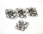 8 Silver connectors rose earring dangles antiqued pendants 15mm x 20mm (YY2)