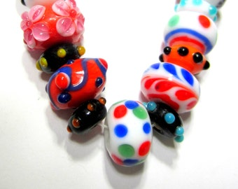 21 Lampwork beads red white blue glass jewelry supplies assorted size bead bracelet strand SB1,