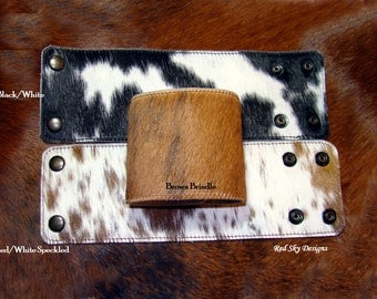 "Cowhide Leather Cuff - Large Cowhide Cuffs - Leather Cuffs - Leather Jewelry - 3"" Cowhide Cuffs - Cowhide Bracelet - Cowhide Cuff"