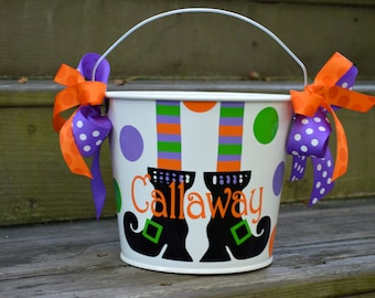 Personalized White with Witches Feet 5QT Halloween Trick or Treat Bucket w/Handles; Many Designs to Choose From