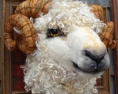 LAYAWAY.  First Payment of Two Needle Felted One of a kind Sheep Ram Faux Taxidermy Animal Soft Sculpture by Bella McBride