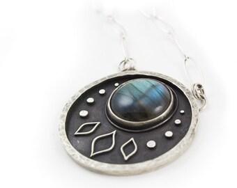 Luna Necklace - Labradorite Statement Necklace - Round flashy labradorite gemstone necklace