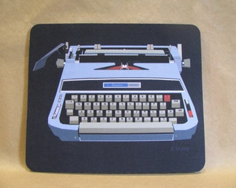 Mouse Pad, Blue Mid-Century Typewriter by Sandra Corey.  Free Domestic Shipping.