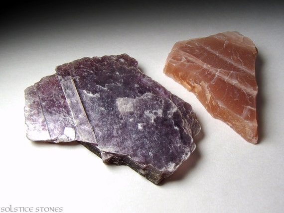 2 Purple Lepidolite and Peach Moonstone Raw Crystal Slices