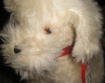 Sweet Vintage Wendy Boston Dog, Puppy, Poodle with Red Collar and Leash