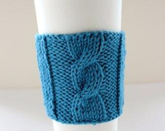 Organic Hand-knit Cotton Cup Sleeve / Mug Cosy / Cup Cozy / Mug Sleeve / Cup Cosy - BLUE
