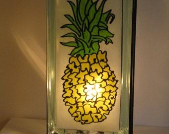 Glass Block PINEAPPLE lamp upcycled handmade night light FREE SHIPPING, kitchen lamp, shower gift, wedding gift, Hawaiian lamp,  barware