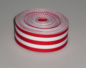 5 Yards 7/8 inch Red and White Stripes Ribbon