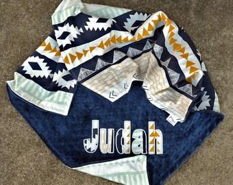 Baby Boy Blanket,Tribal Blanket,Aztec,Arizona Horizon,Navy Minky,Personalized Blanket,Applique,Newborn Blanket,Baby Bedding,Minky Blanket