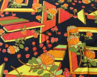 Vintage Colorful Mod Floral Mid Century Fabric