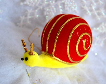Vintage Christmas Ornament - Felted Yellow and Red Snail