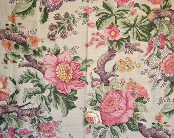 Stroheim & Romann Fabric - Cacharel Chinoiserie Linen Upholstery - 56 x 36  Pink Tree Blossoms
