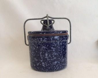 Vintage Blue Splatter Butter or Cheese Crock