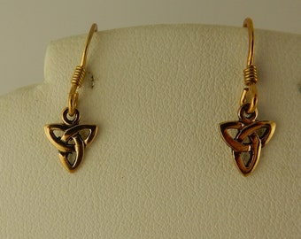Vintage Bronze Trinity Knot Earrings Irish