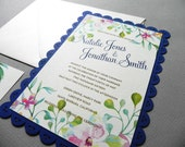 Watercolor Floral Invitation Suite for Garden Wedding, includes RSVP Card , Scalloped Edged Card and Envelopes