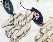 Bricolage Birds Mixed Media Found Object Earrings