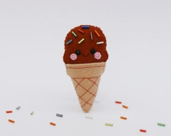 Chocolate Ice Cream Felt Brooch, Sprinkles
