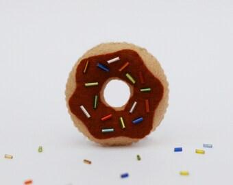 Brown Chocolate Doughnut Felt Pin, Cute Brooch