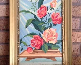 Vintage Paint By Number Still Life with Roses Framed