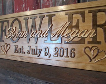 Personalized Wedding Gift Christmas Present Family Name Sign custom CARVED Wooden Signs Last Couples Established Anniversary custom Plaque