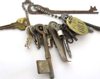 15 Vintage keys Mixed keys Vintage brass tag Old skeleton keys Old odd keys Vintage clock key Sewing key Key collection Mixed key lot ,#2